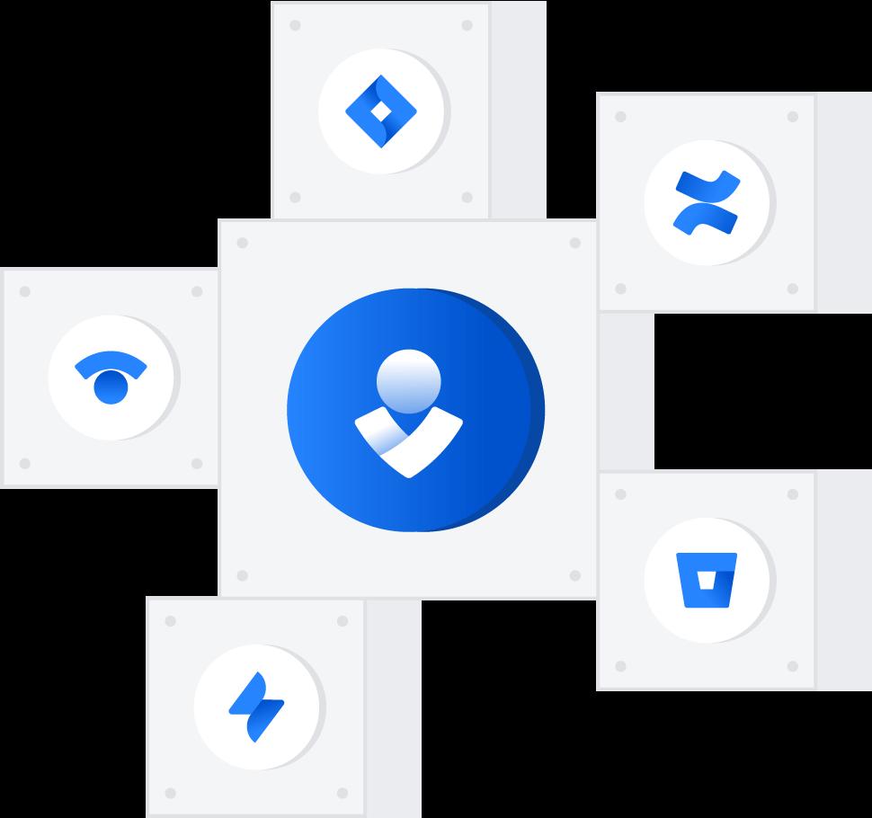 함께 연결된 여러 Atlassian 제품