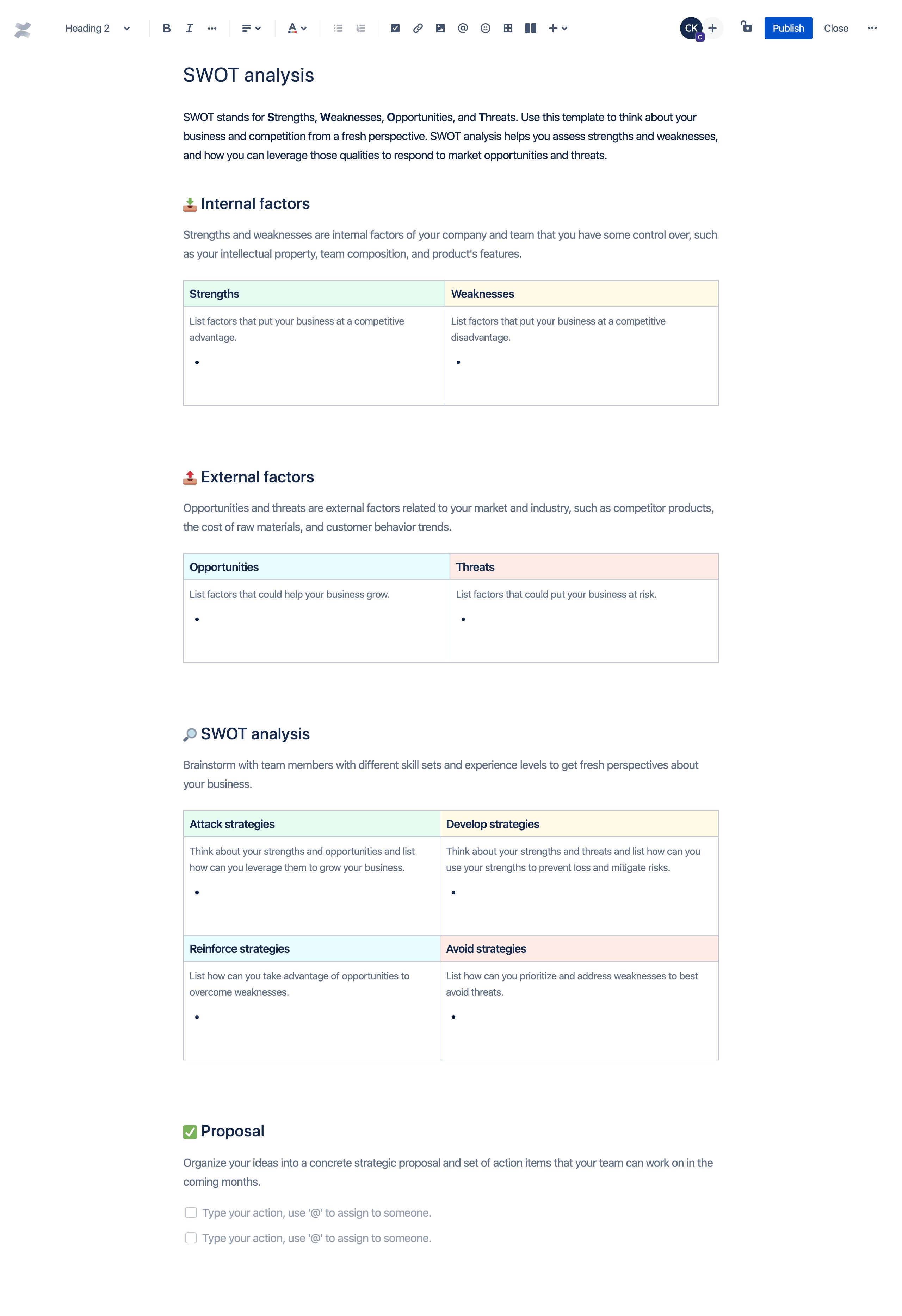 Analiza SWOT — szablon