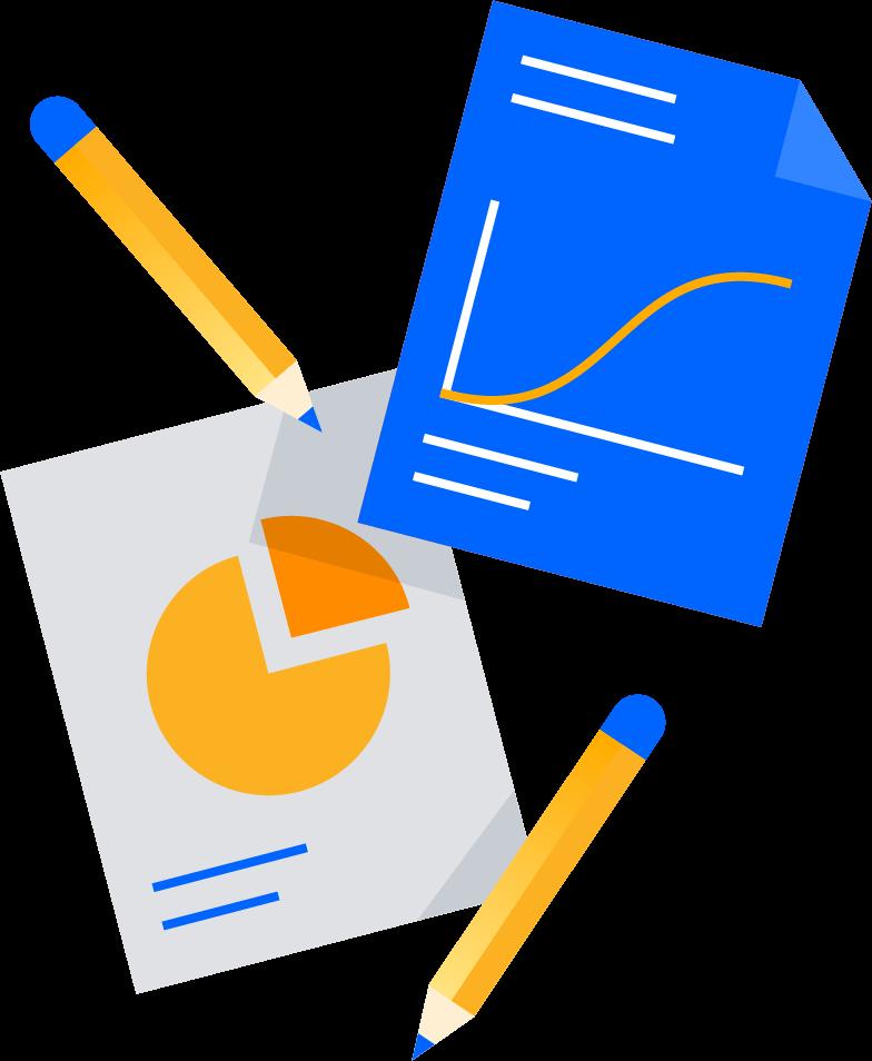 Ilustracja ołówków i dokumentów
