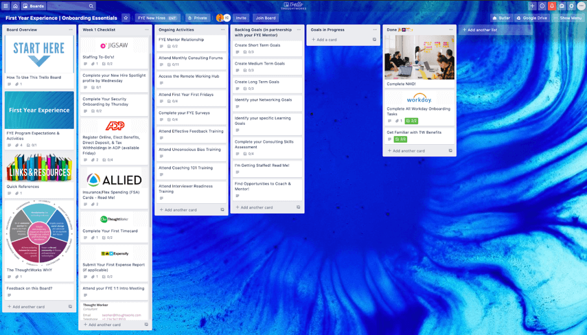 Thoughtwork's Trello Onboarding Board