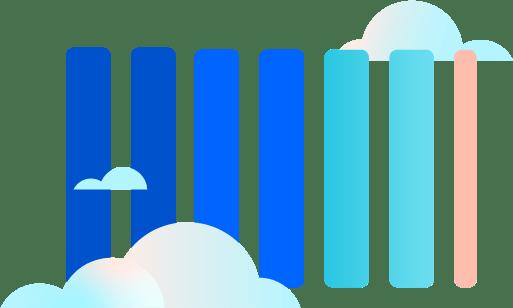 Balken zwischen Wolken