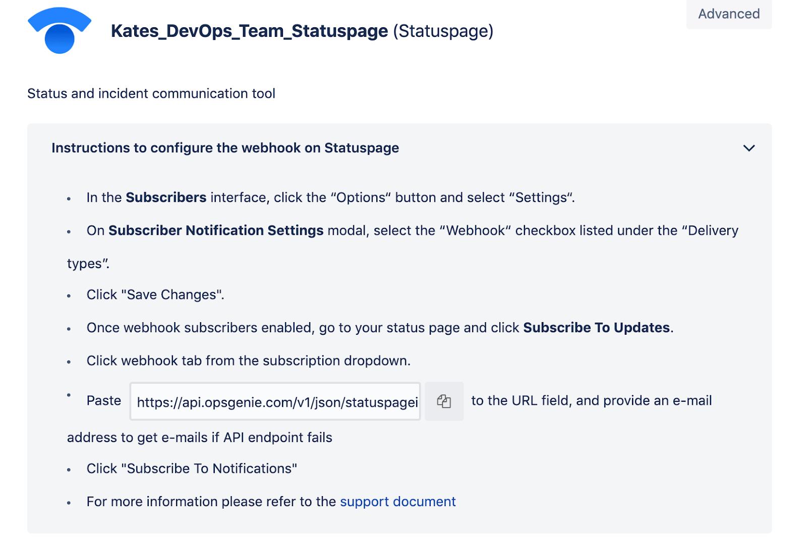 Instructions to configure webhook on Statuspage