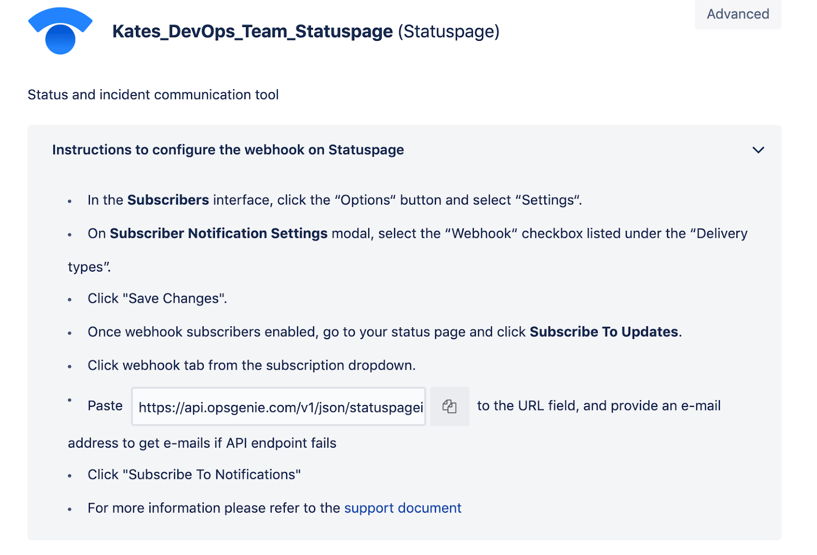 Инструкции по настройке веб-хука в Statuspage