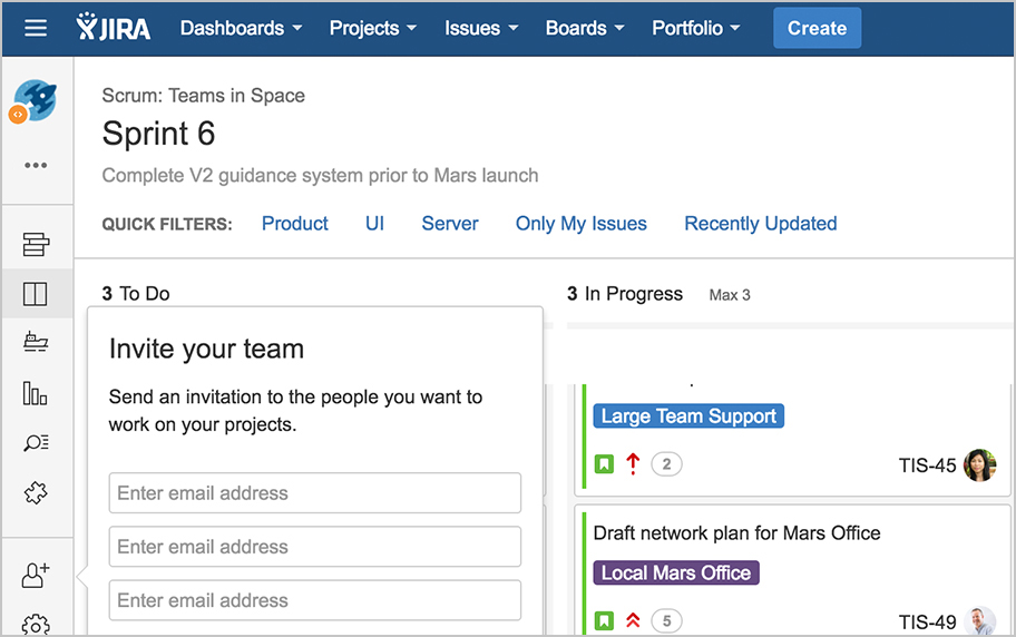Add team members button on sprint board