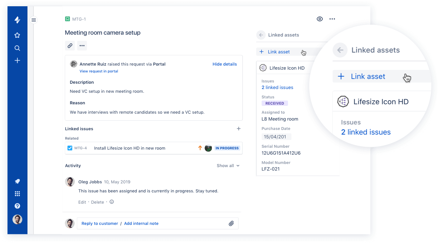 Ticket request linking to asset
