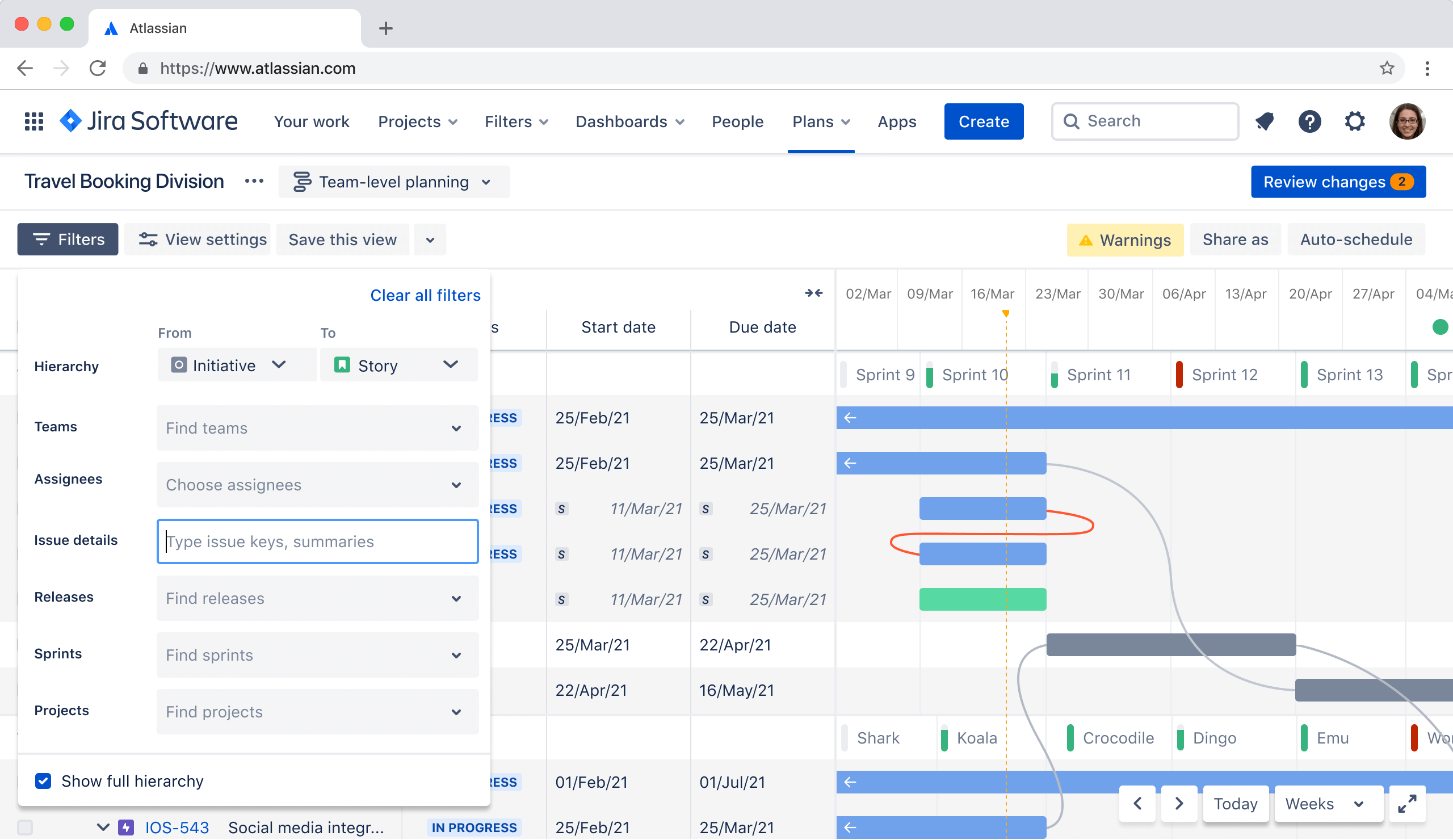 Capture d'écran de la hiérarchie AdvancedRoadmaps