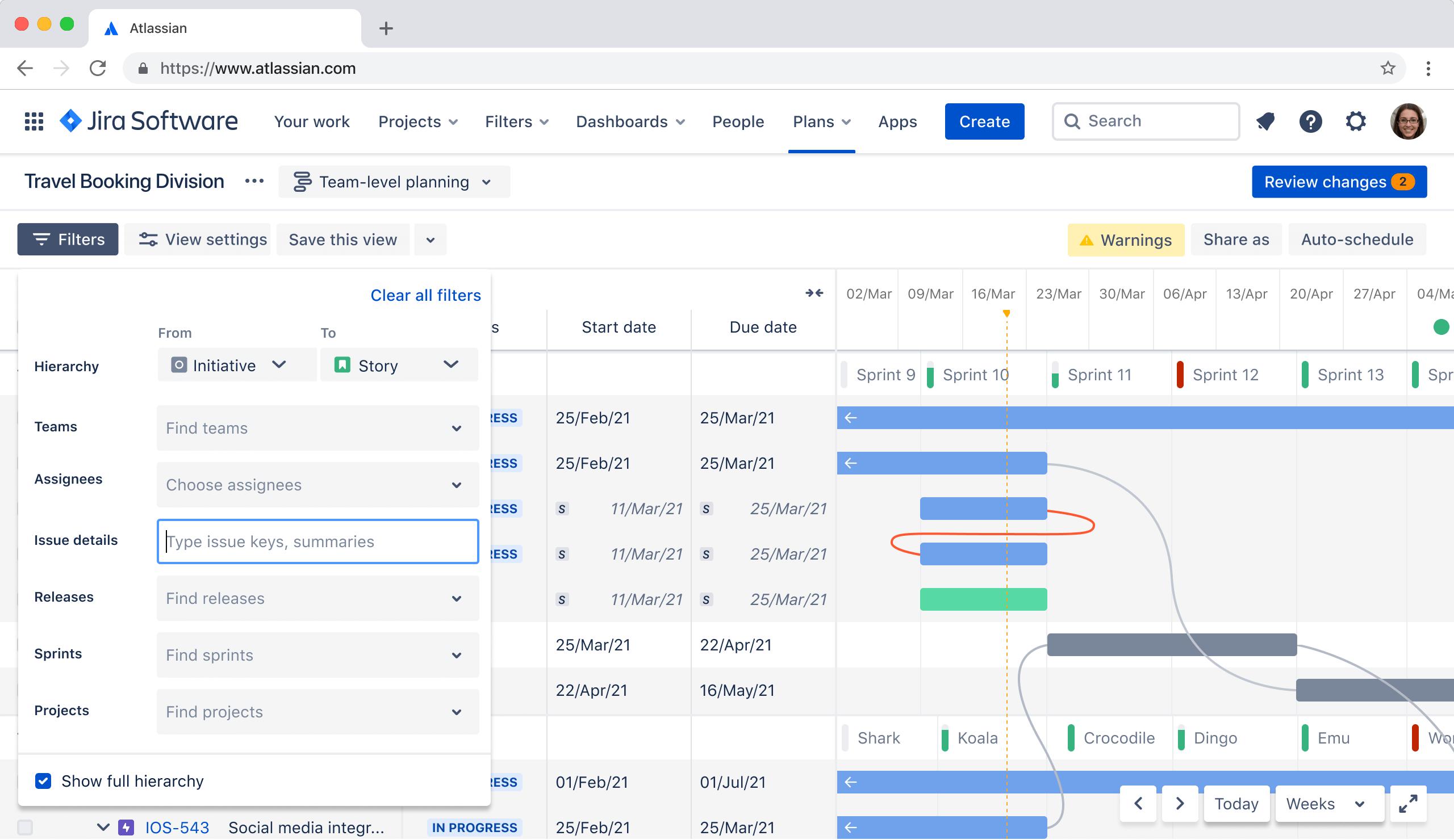 Screenshot van Advanced Roadmap-hiërarchie