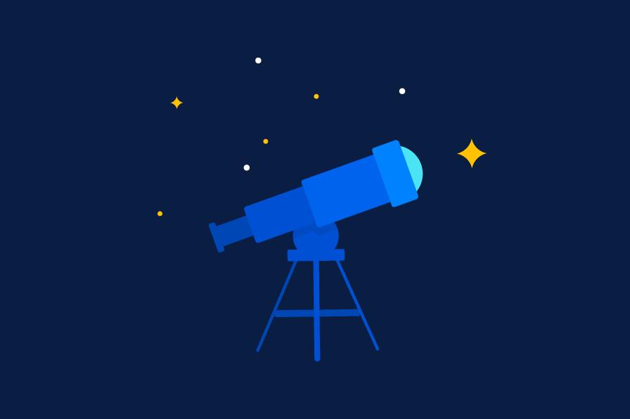Telescópio com estrelas