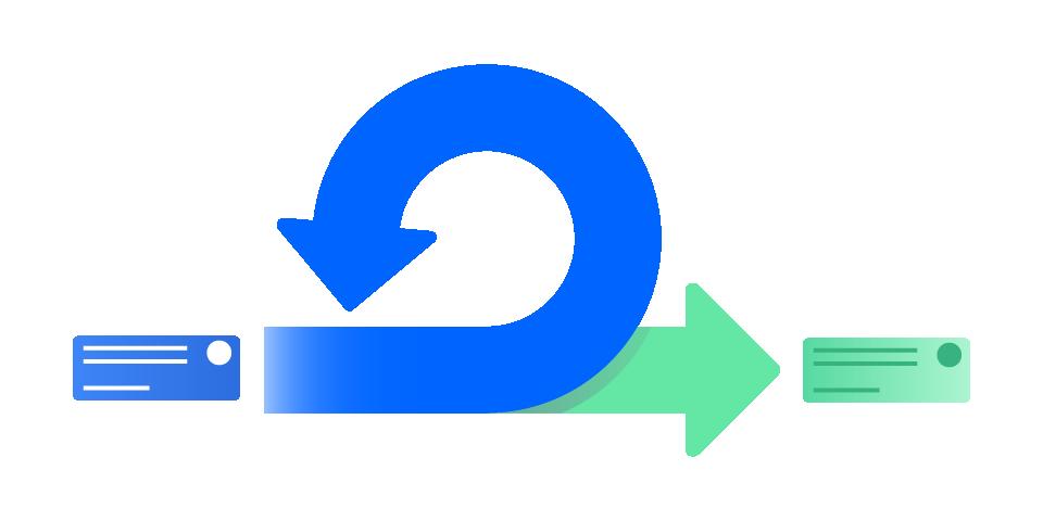 스크럼 스프린트 및 지속적인 반복 과정을 나타내는 두 개의 화살표.