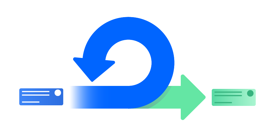 Two arrows that represent a scrum sprint and the process of continuous iteration.