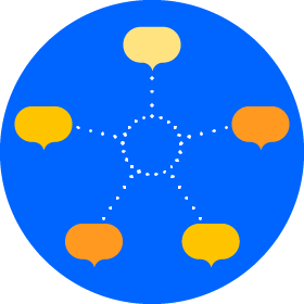 project poster with a blue circular background