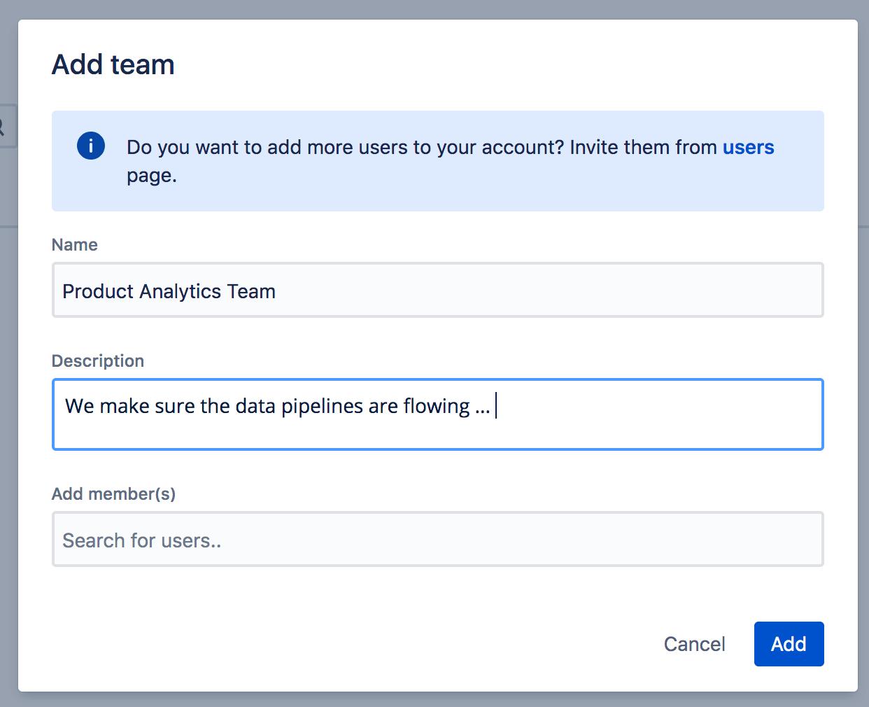 Screenshot mit Feldern zum Hinzufügen eines Teams