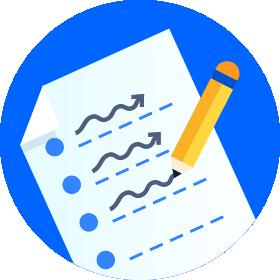 Cartel de proyecto con un fondo circular azul