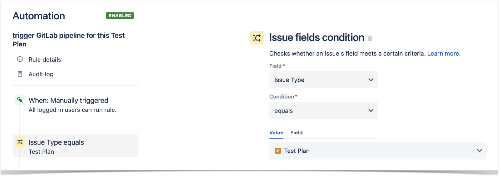 Define the condition of new rule in Jira settings, under Automation