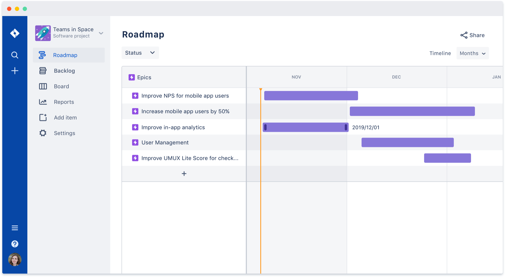 Screenshot of Roadmap