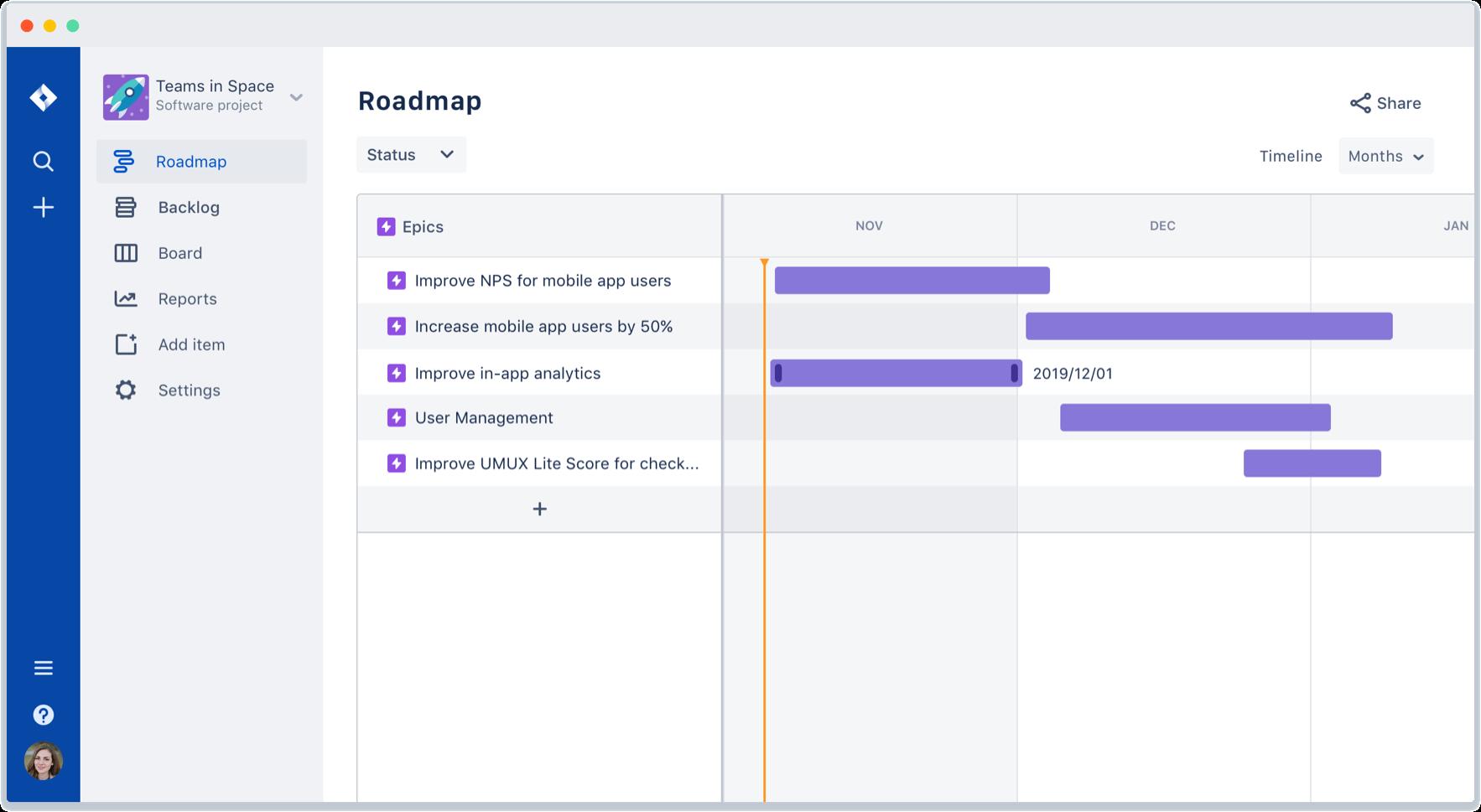 Captură de ecran a unei planificări
