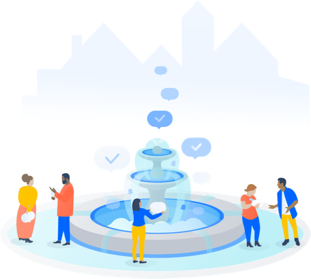Personnes rassemblées autour d'une fontaine
