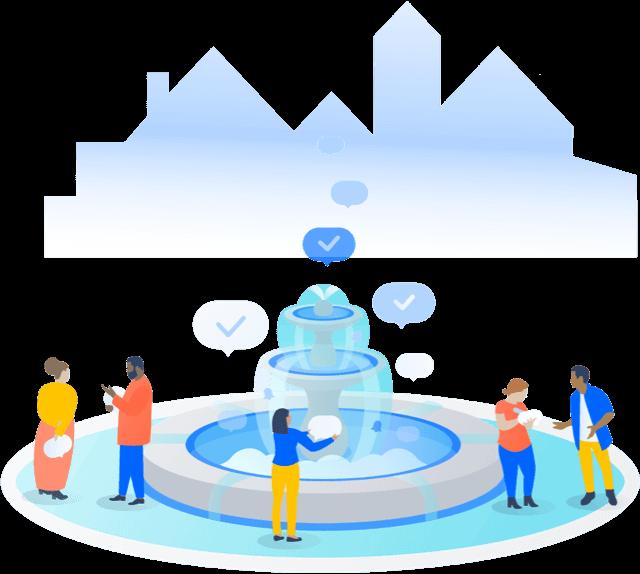 Gente reunida alrededor de una fuente
