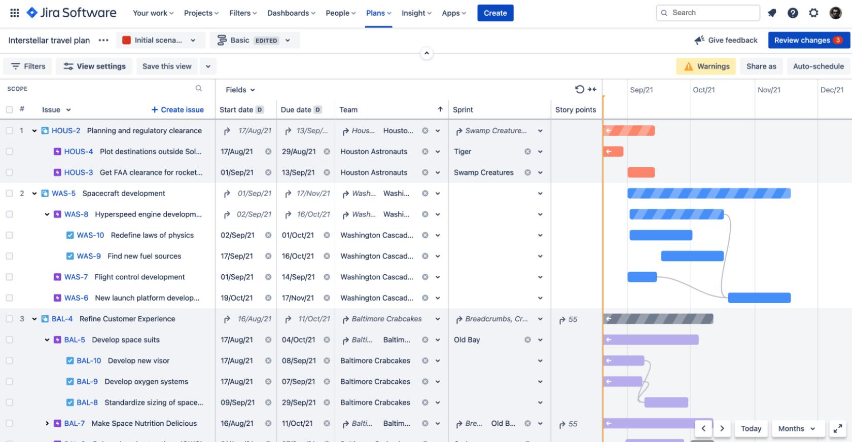 Jira Software용 Advanced Roadmaps의 로드맵 계획 보기