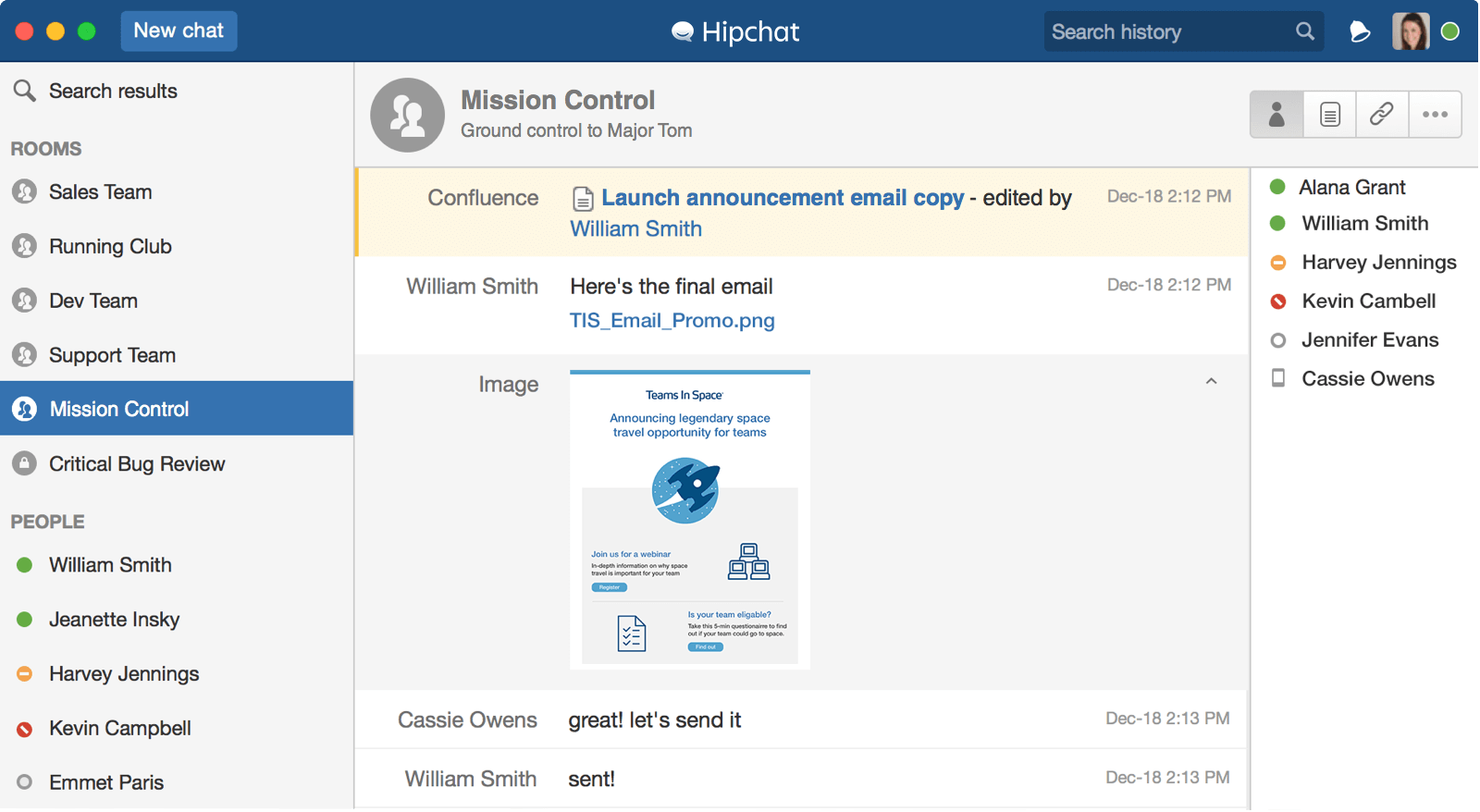 Captura de tela do Hipchat