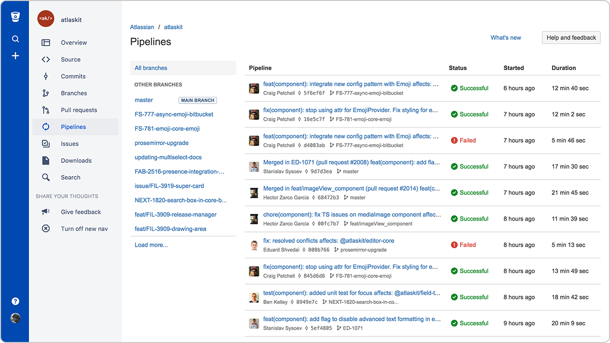 Every push to the repository is verified thanks to Bitbucket Pipelines