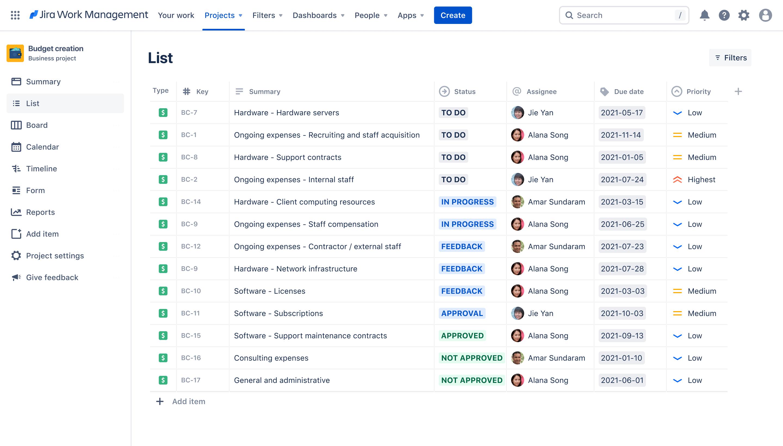 Budget creation screenshot