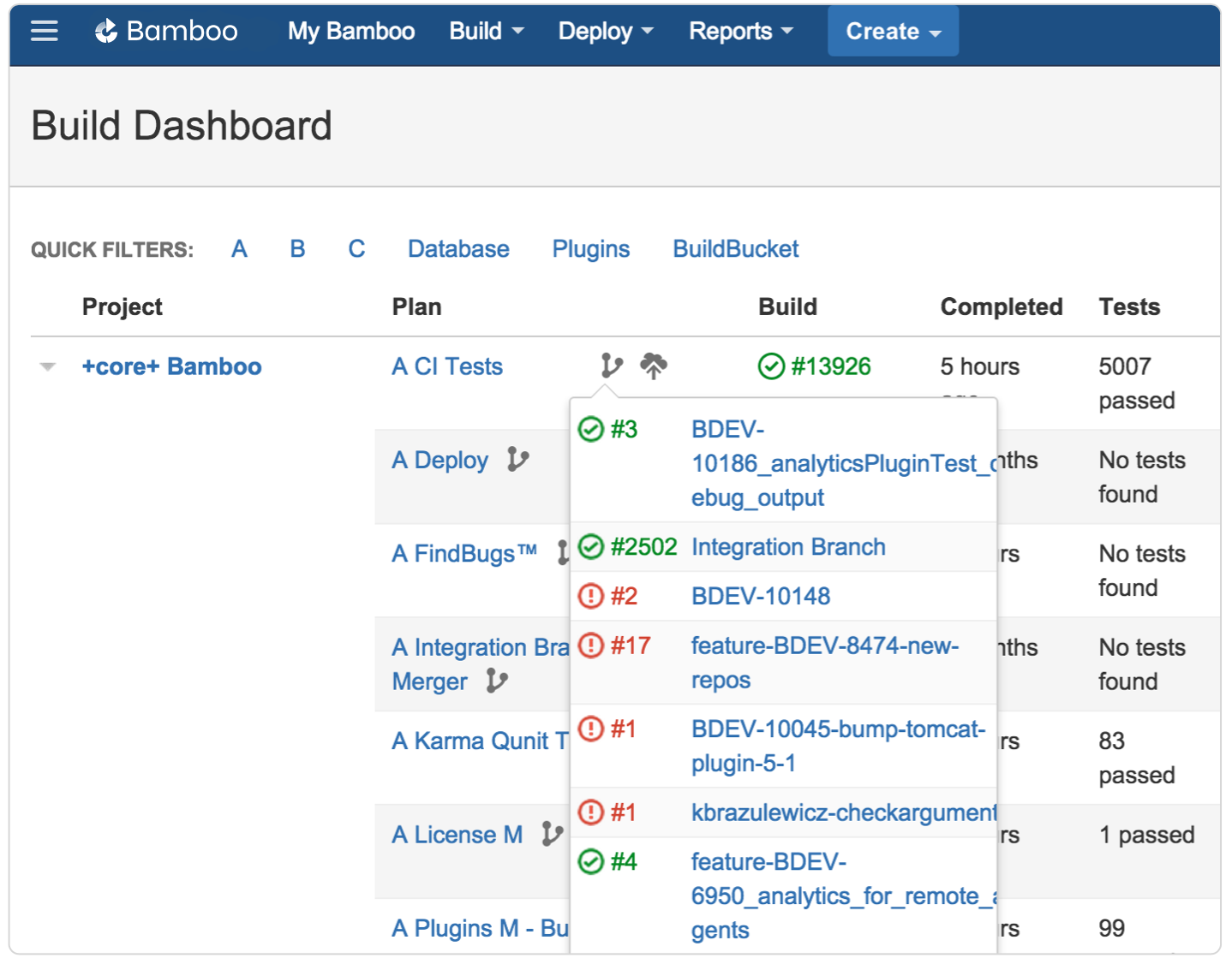 Bamboo build dashboard plan branches screenshot