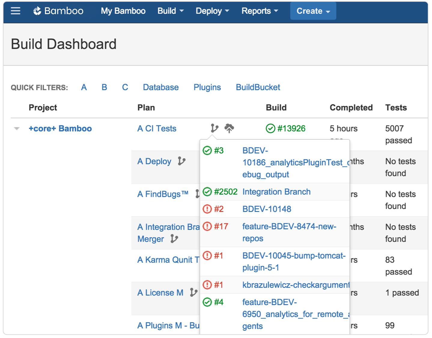 "Screenshot ""Build-Dashboard der Plan-Branches in Bamboo"""