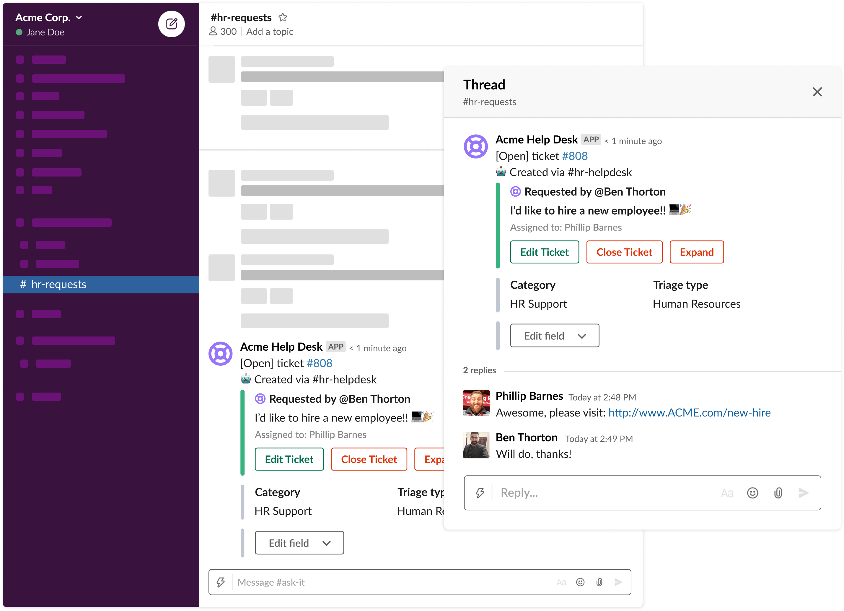 Capture requests from Slack