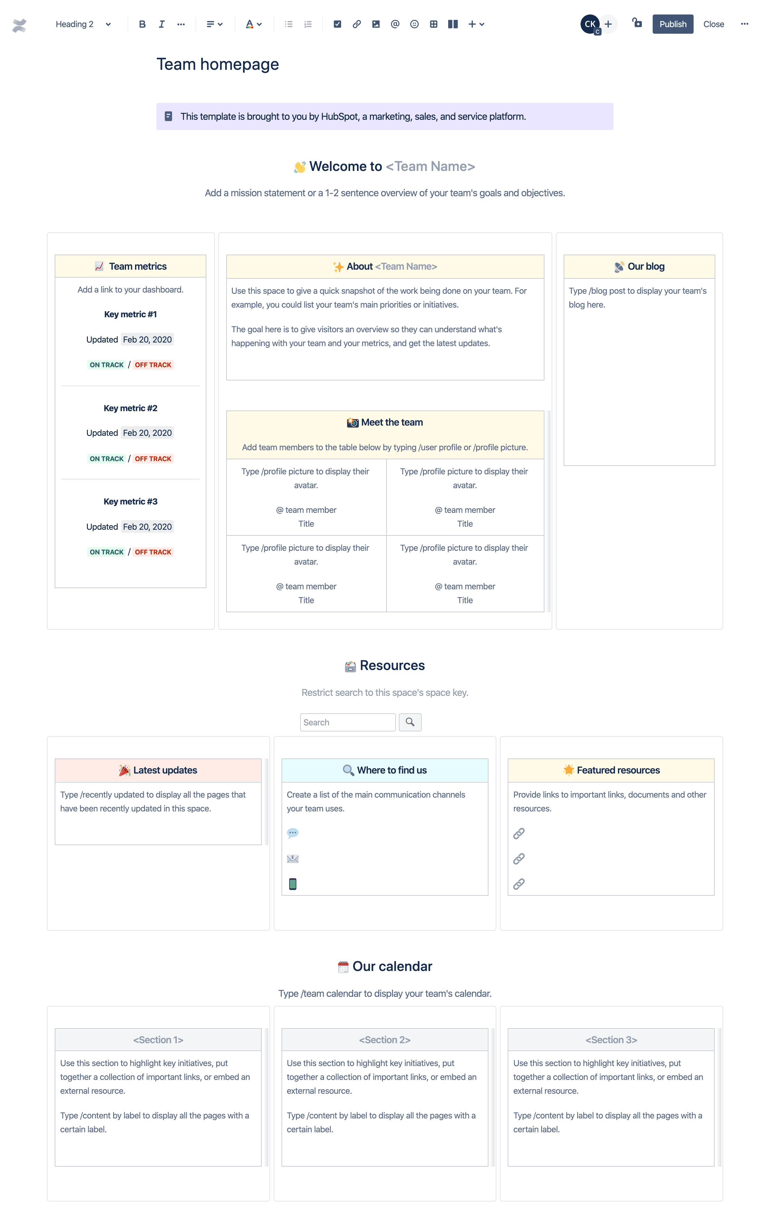 Modello della homepage del team