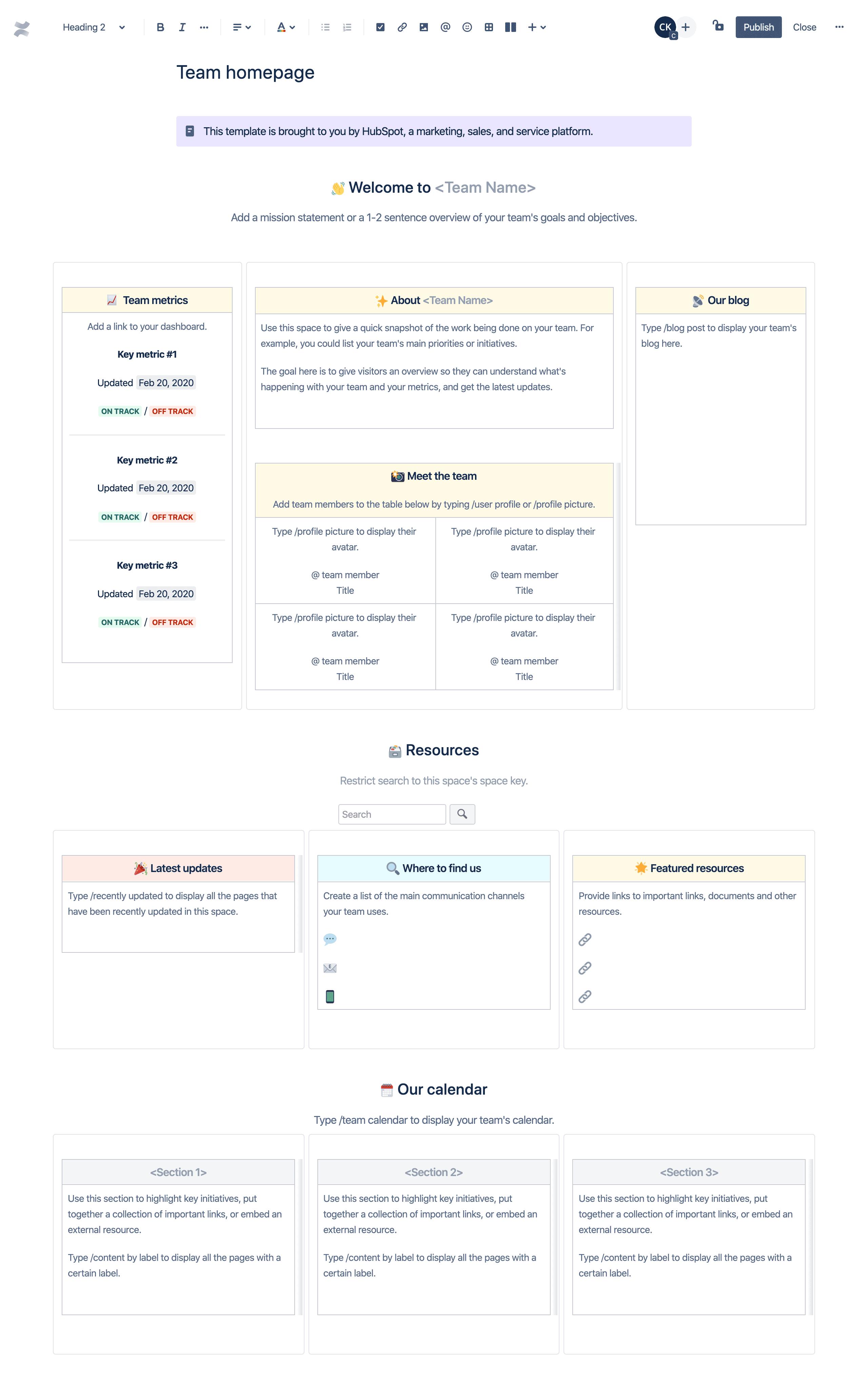 Plantilla de página de inicio del equipo