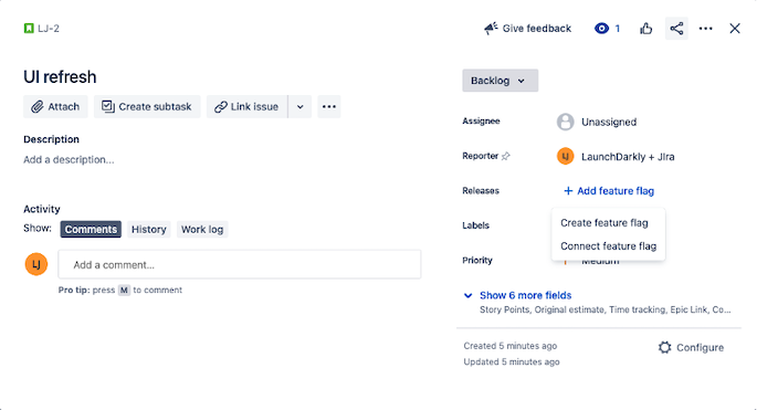 Feature flag creation in Jira Software