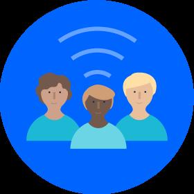 Team with signal illustration