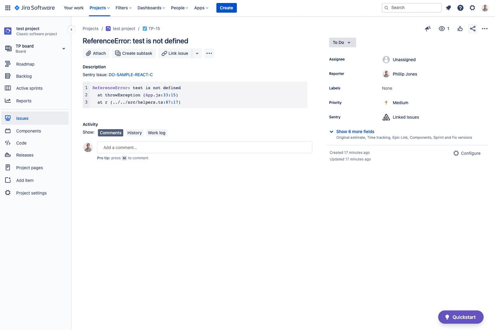 Jira issue screenshot