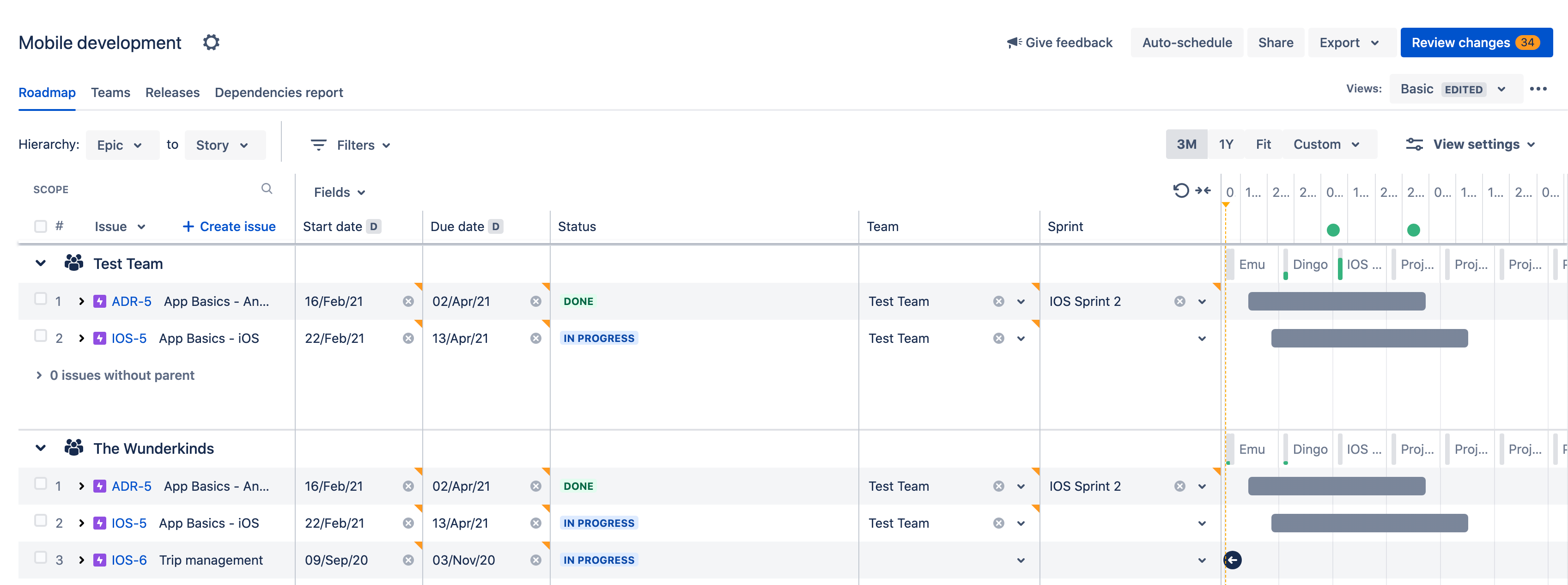 Screenshot of Jira Advanced Roadmaps
