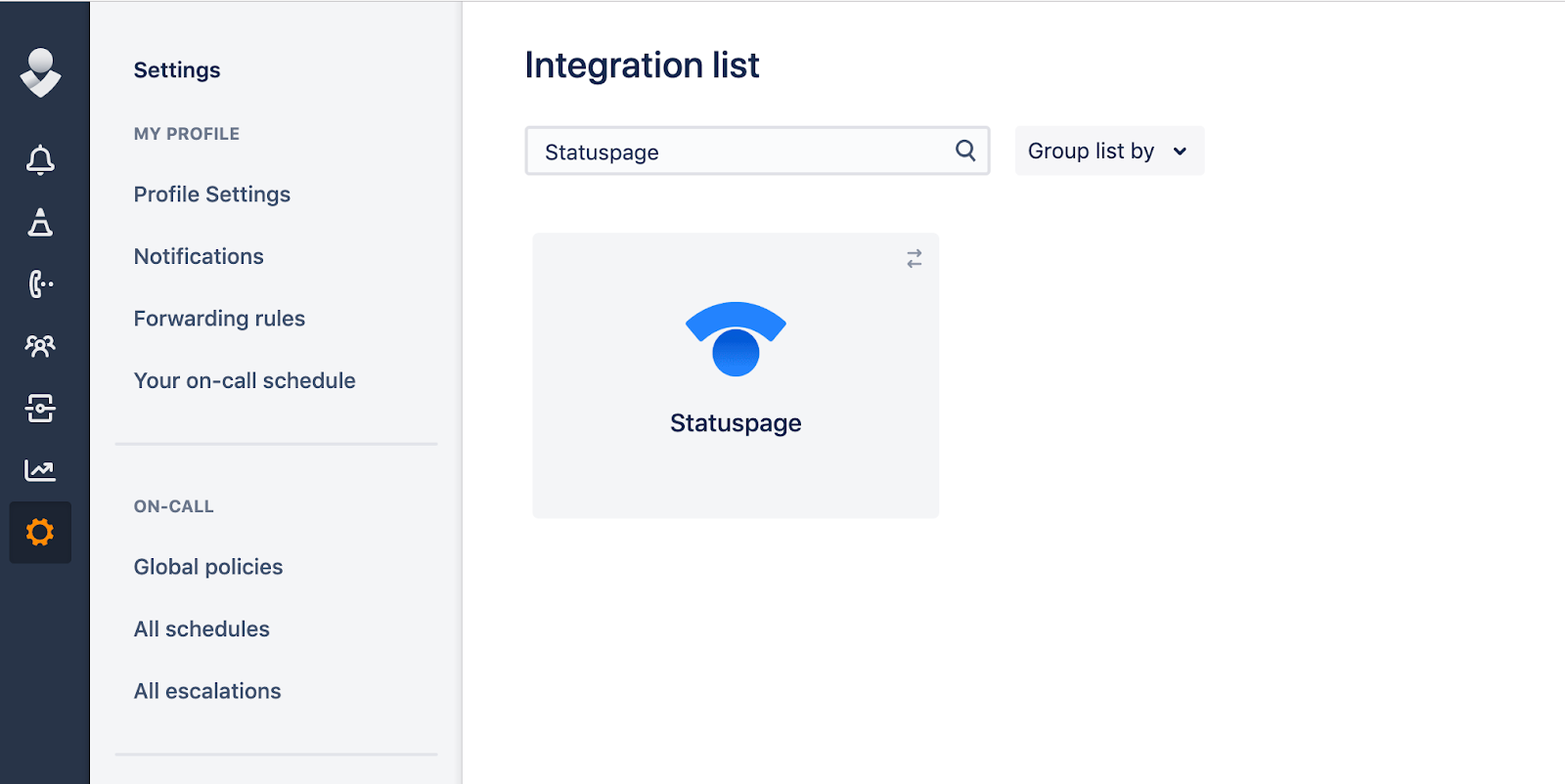 Integration list from opsgenie