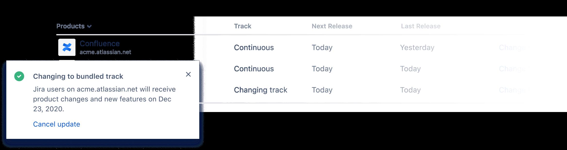Captura de tela de pacotes de tracks de versões