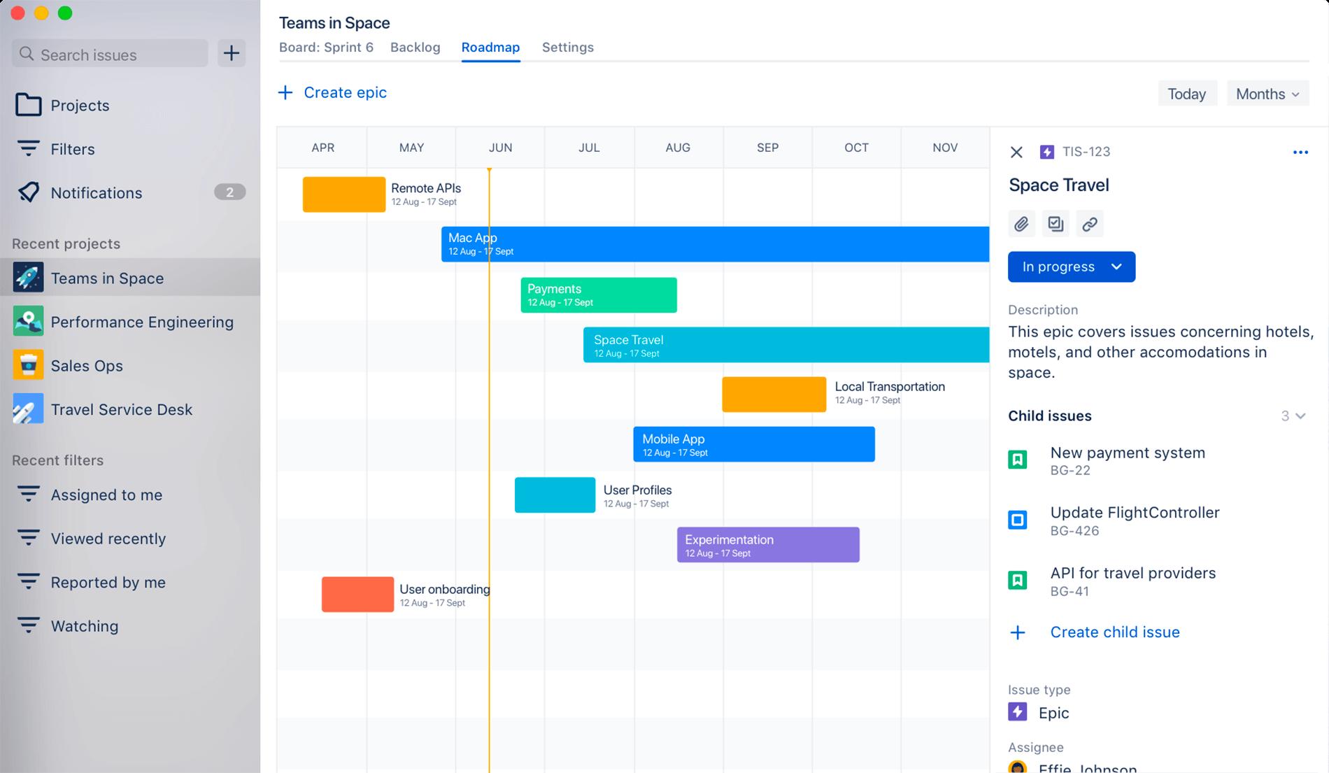 Roadmap di Jira Cloud
