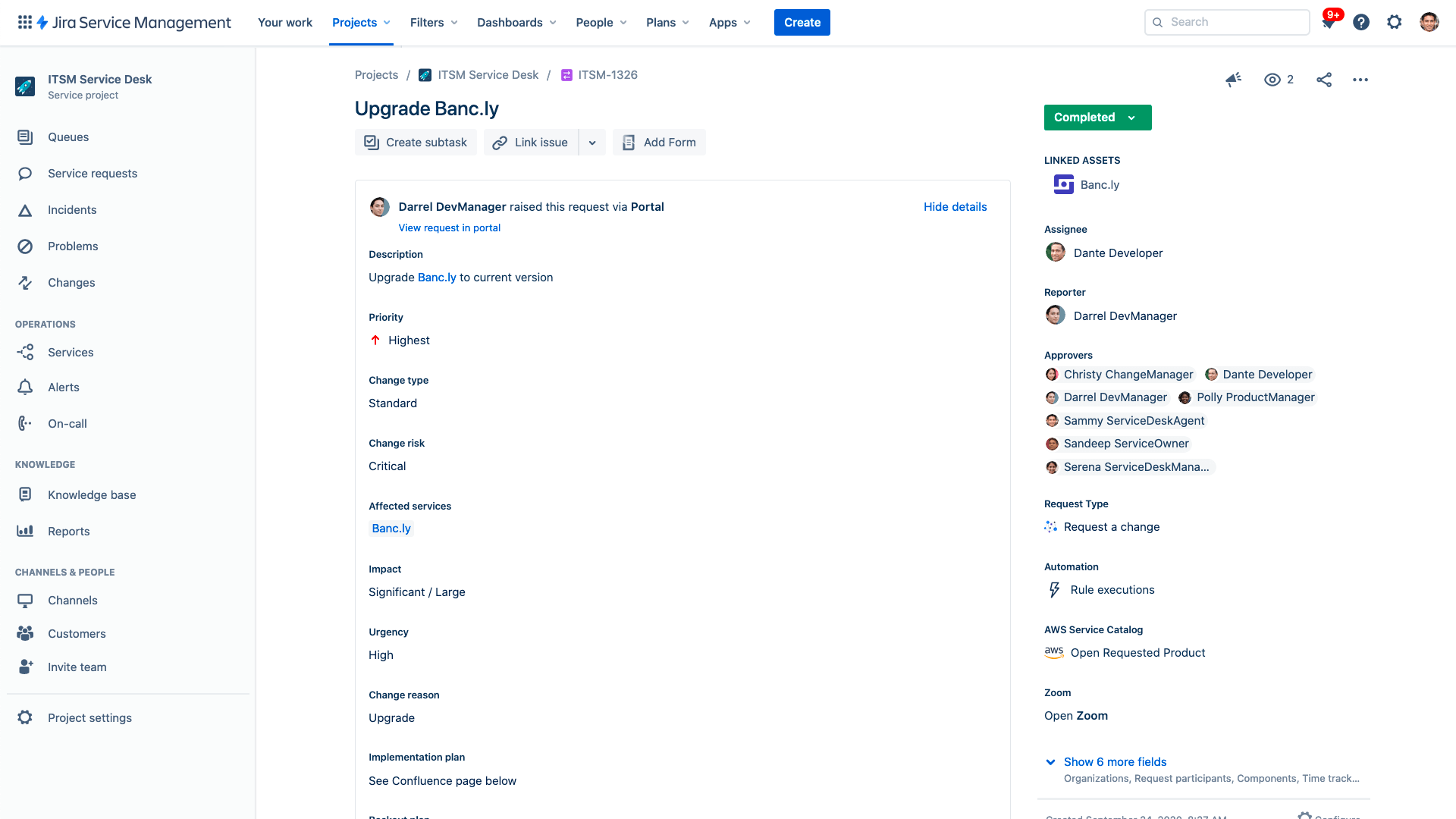 Change record screenshot
