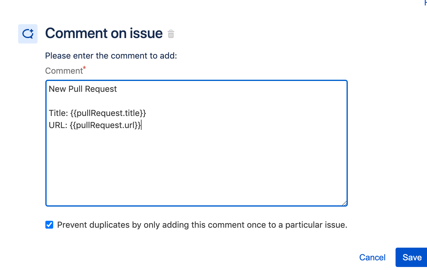 Screenshot of adding a comment onto an issue