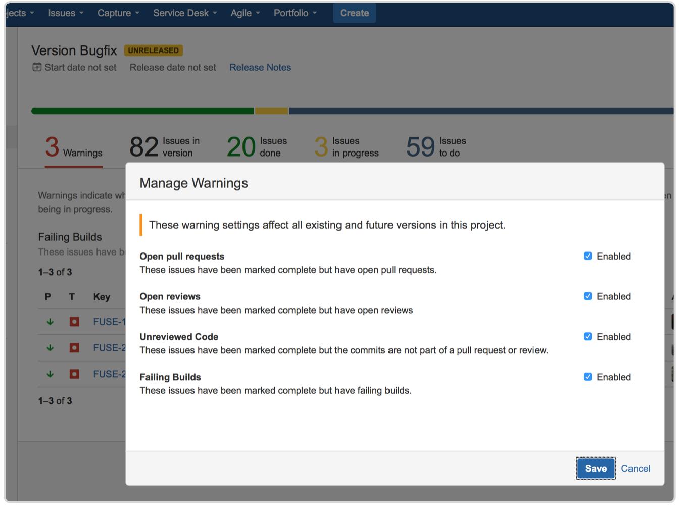 Manage warnings screenshot