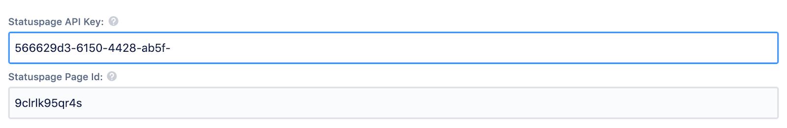 Statuspage API キーと ID