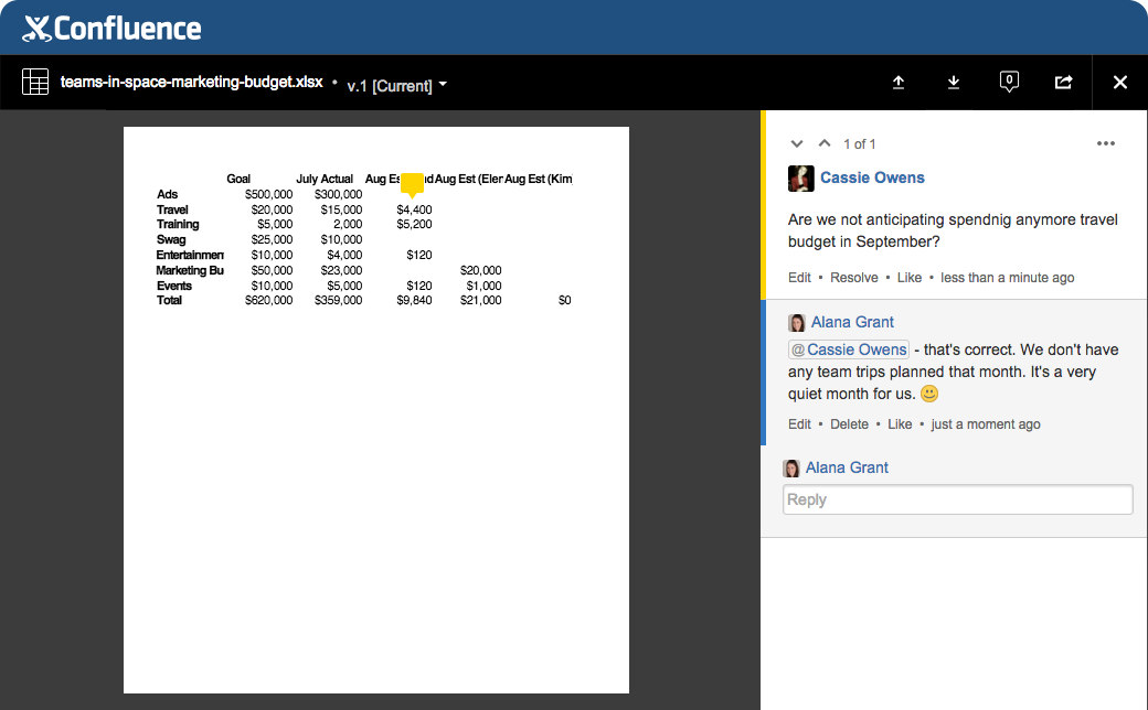 Share and discuss your spreadsheets in one place
