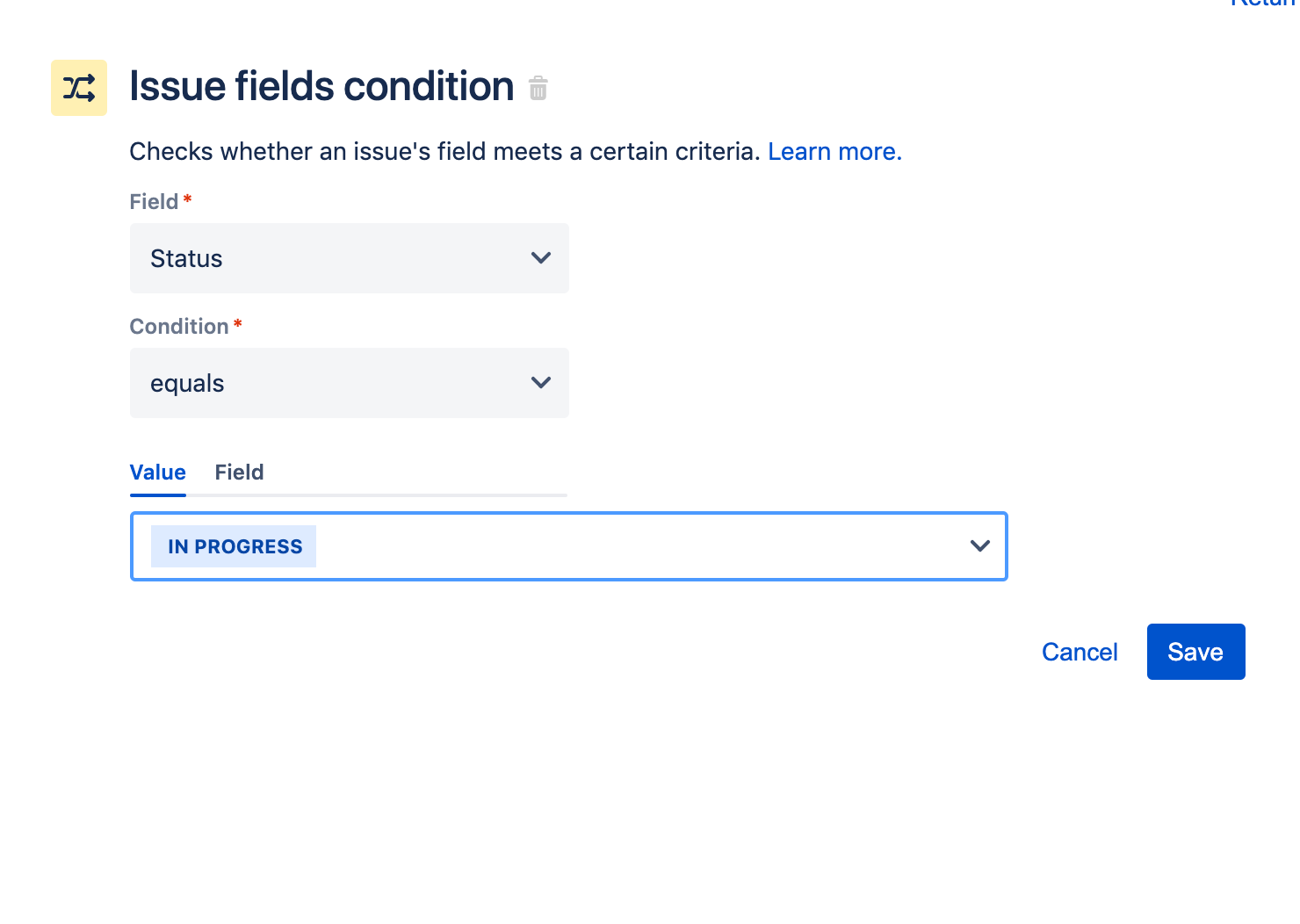 Screenshot of issue fields condition
