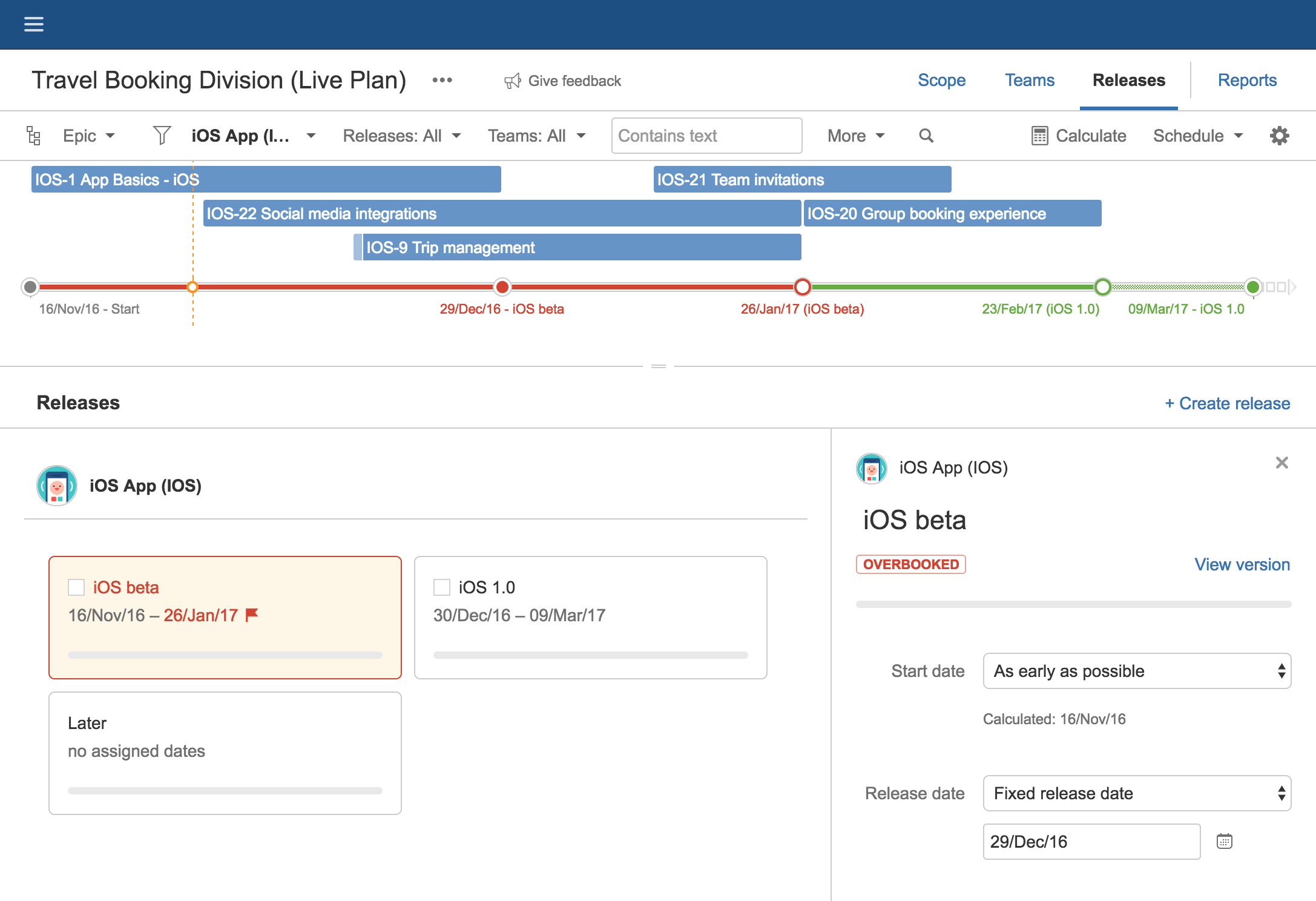 Changing release scope in Portfolio for Jira