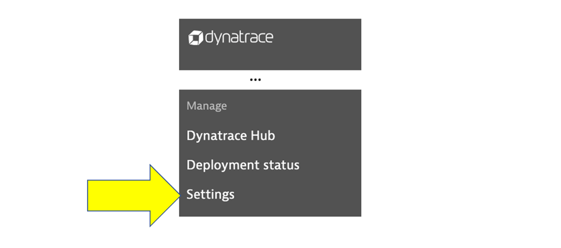 Settings option under Deployment status