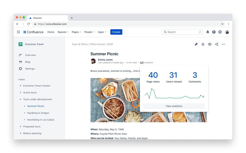 Analizy dotyczące stron – zrzut ekranu