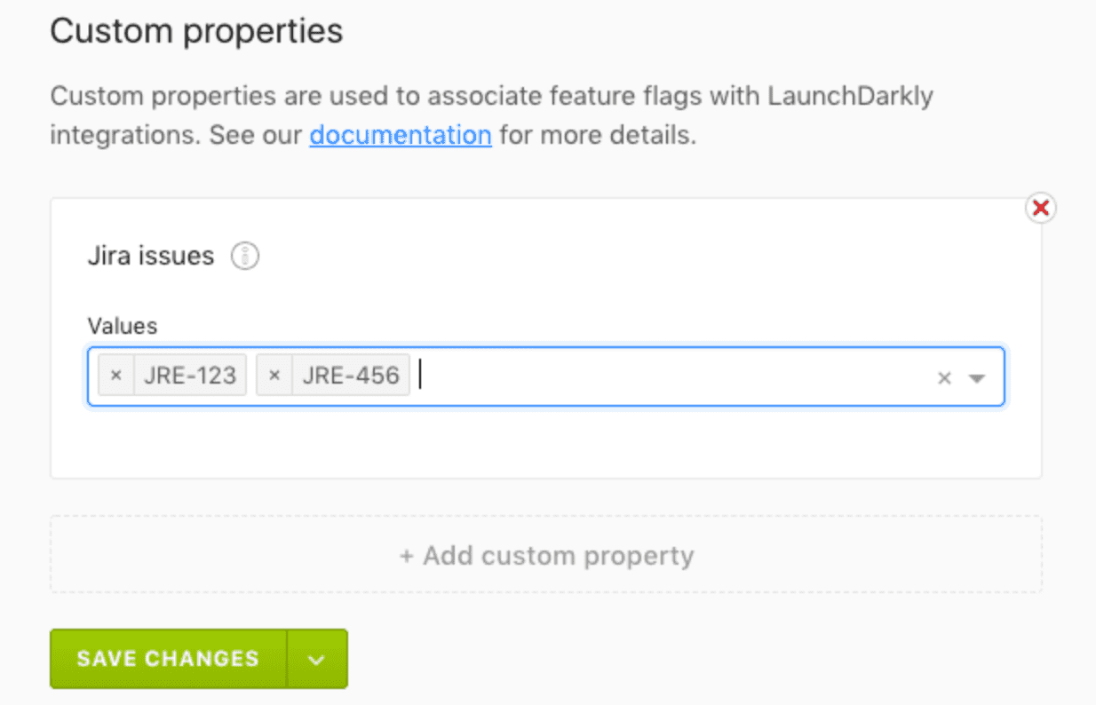 The Jira issues custom properties field.