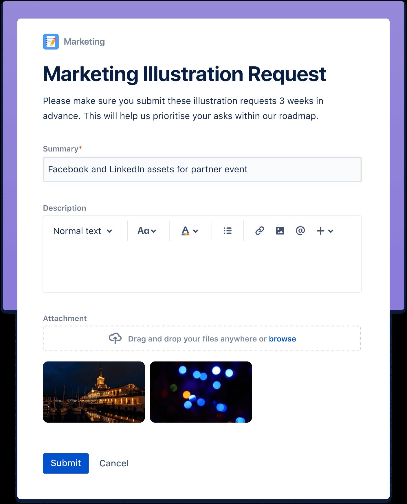 Ekran ilustrujący sekcję Proste zbieranie wniosków o wykonanie prac
