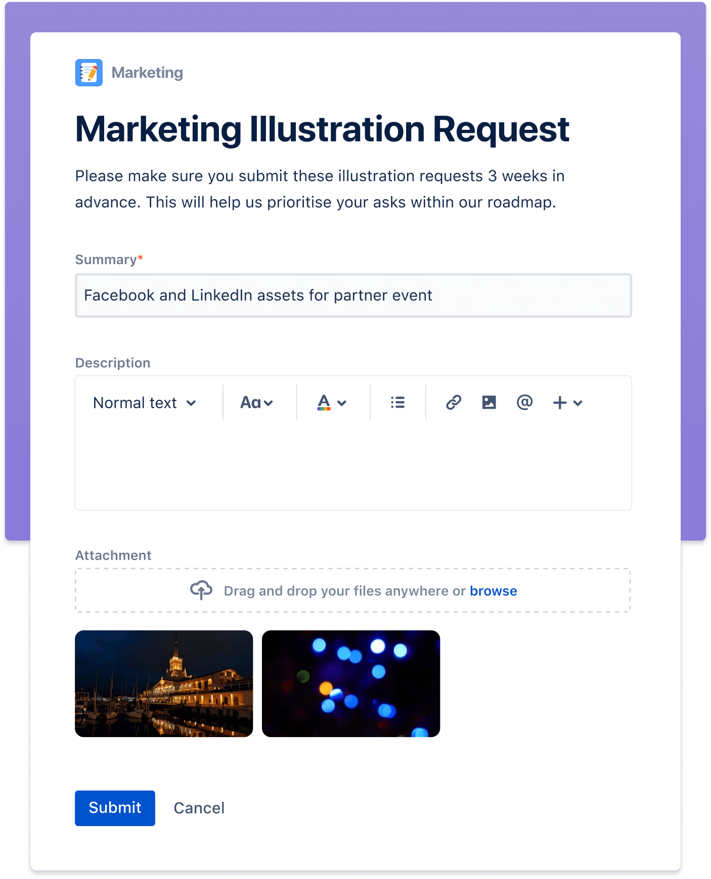 显示收集简单工作请求的屏幕
